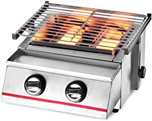 2 Burners BBQ Gas Grill Portable Outdoor BBQ Tabletop Propane Gas Smokeless Grill Tabletop Barbecue Cooker Machine Camping Stainless Steel Steel Shield No Fire Environmental Adjustable Height