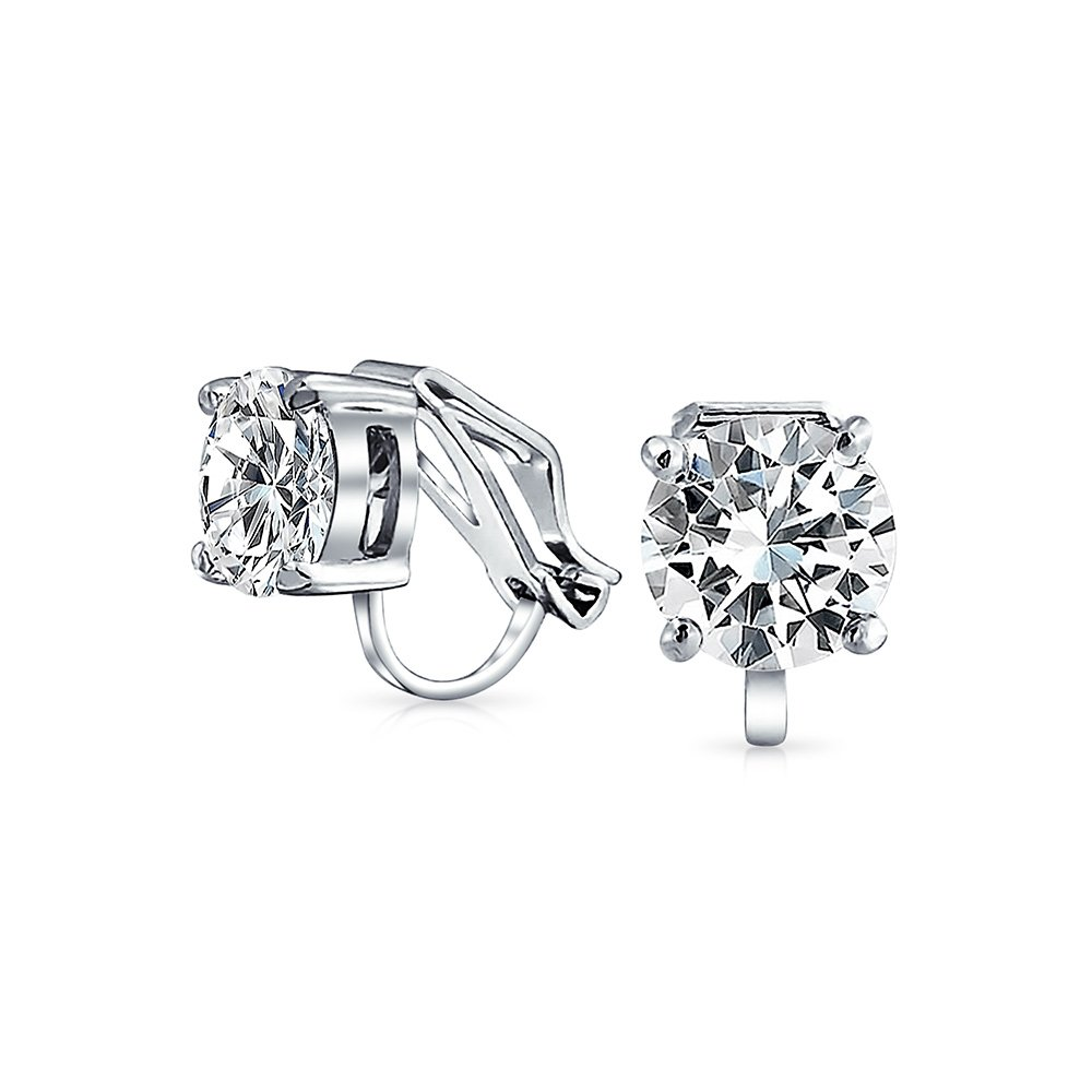 Clip On No Piercing Bridal CZ Stud earrings Rhodium Plated 8mm Bling Jewelry MY-BME81194