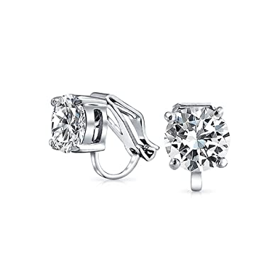 7244d3ba5 2CT Brilliant Cut Solitaire Round Cubic Zirconia CZ Clip On Stud Earrings  For Women Non Piercing Silver Plated Brass: Amazon.ca: Jewelry