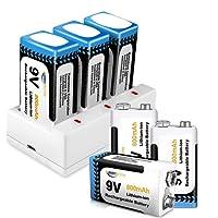 9V Batterie Rechargeable, Keenstone 6-Pack 9V PP3 800mAh Piles Rechargeables Li-ION, Chargeur avec 3 Compartiment de Charge