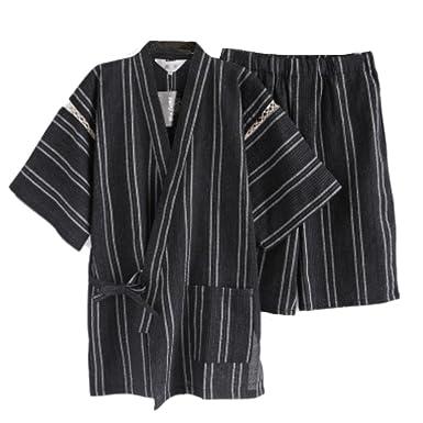 Amazon.com: Hombre Estilo Japonés albornoz Kimono Pijama ...