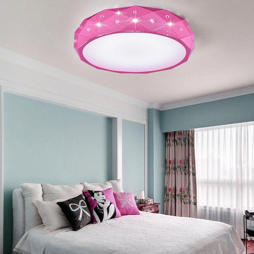 Europäische LED Acryl Schlafzimmer Runde Deckenleuchte (Farbe   Rosa-Weiß)