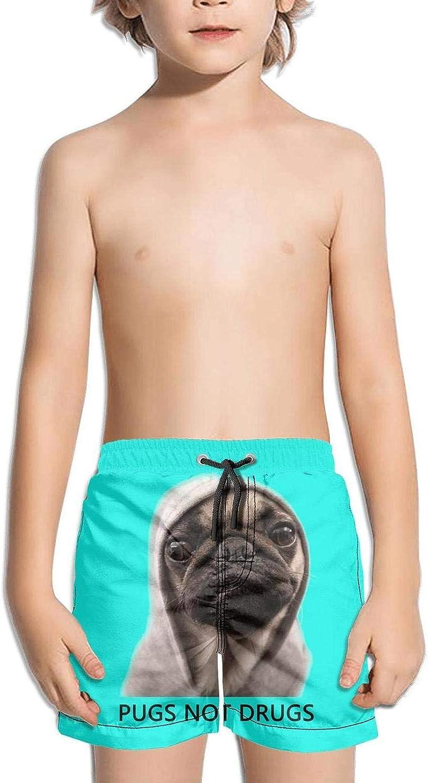 NANIERKOJ Pugs Design Logos Girls Pocket Stripe Elastic Medium Length Beaching Trunk