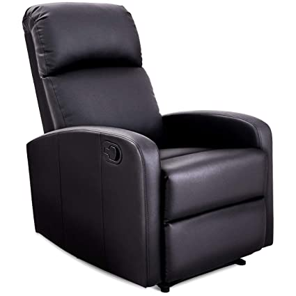 Amazon.com: Giantex Manual Recliner Chair PU Leather Padded Seat ...