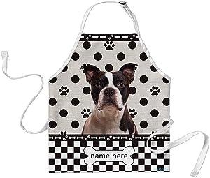 BAGEYOU Custom Dog Name Polka Dots Apron Boston Terrier Buffalo Check Plaid 29x34 Inch