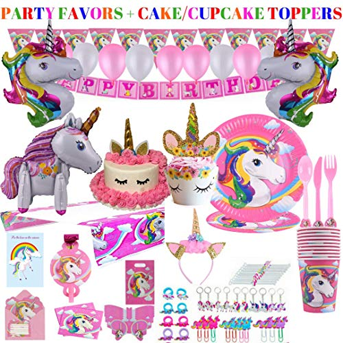 Unicorn Party Supplies - 197 pc Set With Unicorn Themed Party Favors! Pink Unicorn Headband for Girls, Birthday Party Decorations, Unicorn Balloons, Pin the Horn on the Unicorn Game and more| Serve 10!