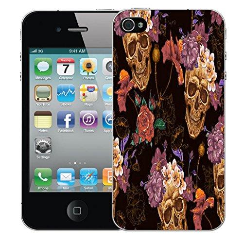 Mobile Case Mate iPhone 4 4s clip on Dur Coque couverture case cover Pare-chocs - skull flower Motif avec Stylet
