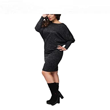 Winter Women Plus Size Christmas Dress Lace Patchwork Knitted Female