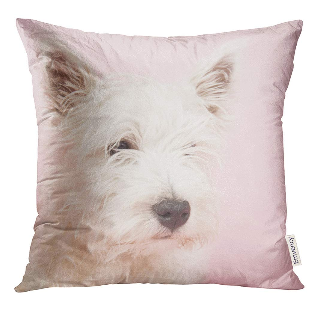 Cupsbags Throw Pillow Cover Pink Dog West Highland White Terrier Westie Westy Animal Baby Decorative Pillow Case Home Decor Square 18x18 Inches Pillowcase