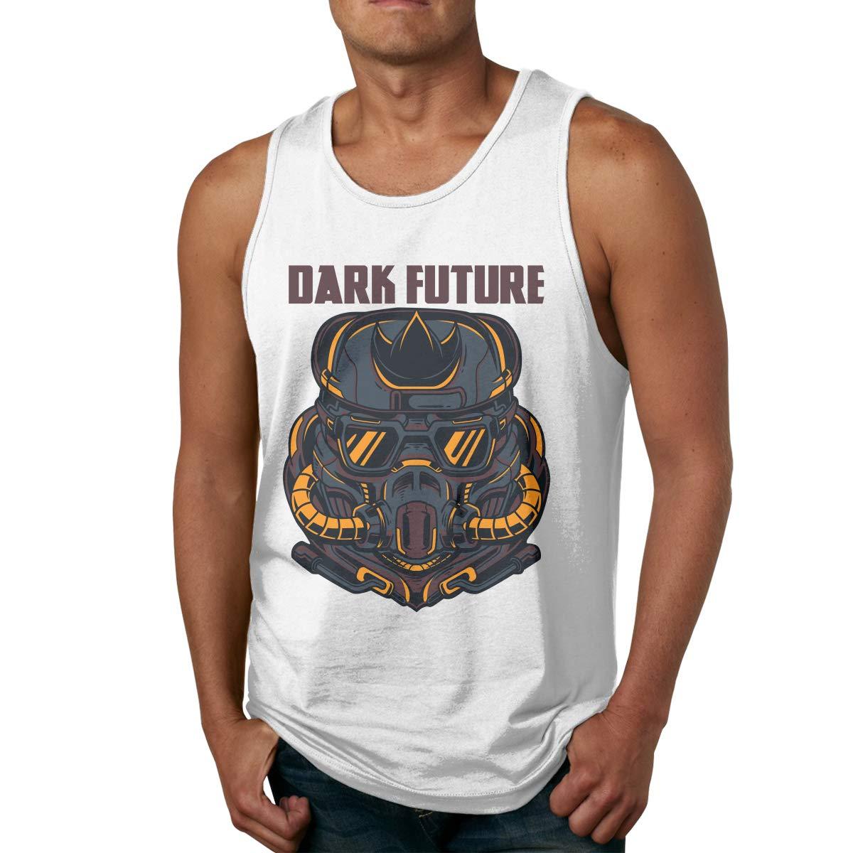 Men Stylish Solid Color O-Neck Dark Future Sports Tanks