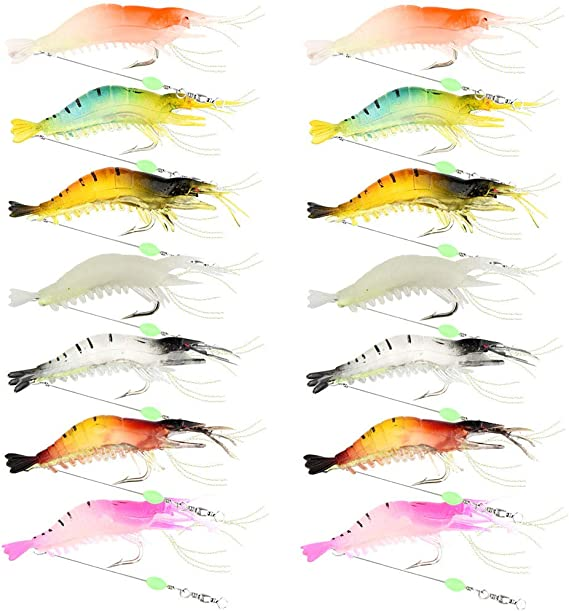 Details about  /9cm//6g Shrimp Soft Lure Fishing Artificial Bait With Glow Hook Swivelh3