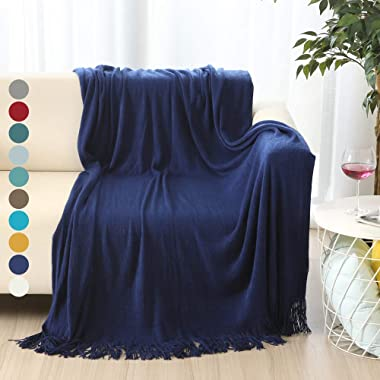 ALPHA HOME Soft Throw Blanket Warm & Cozy for Couch Sofa Bed Beach Travel - 50  x 60 , Royal Blue