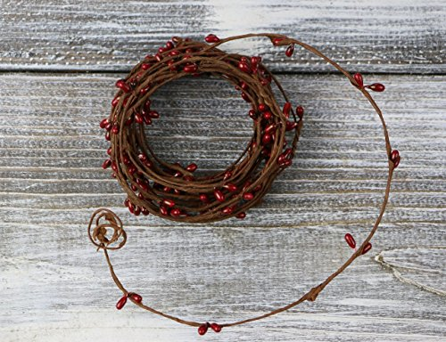 Pip Berry String Garland Primitive Red Colored 18' Country Floral Craft Décor by BCD