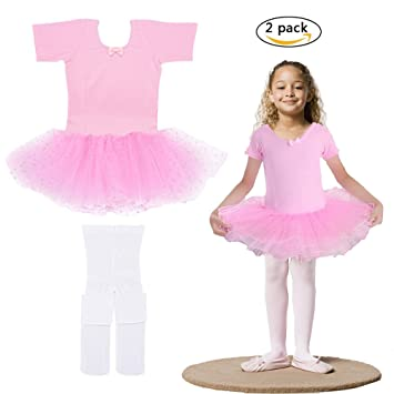 Robe Ballet Fille Enfants + collants Blanc Rose Ballet Body Enfant Maillot  à manches courtes Ballet b094efd74c7