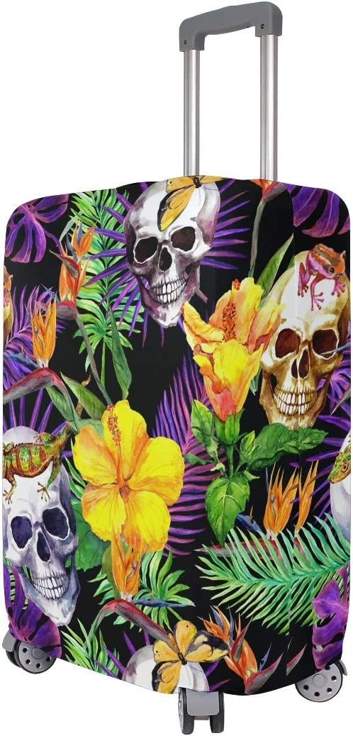 ALAZA Luggage Protector,Watercolor Tropical Leaves Flowers Skull Elastic Travel Luggage Suitcase Cover,Washable and Durable Anti-Scratch Case Protective Cover for 18-32 Inches