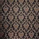 QIHANG European Style Gold - Flecked Process Damask Non-Woven Wallpaper Black Colors 0.53m(1.73') x 10m(32.8')=5.3㎡(57sqft)