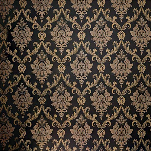 QIHANG European style Gold - Flecked Process Damask Non-woven Wallpaper Black Colors 0.53m(1.73') x 10m(32.8')=5.3㎡(57sqft)