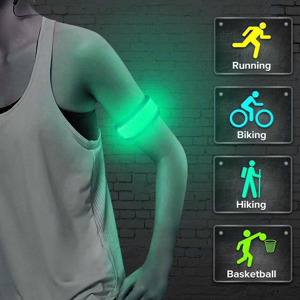 Clearance!!! Glumes LED Armband, 4 Modes Glow Led Slap Bracelets Event Wristband For Men& Women, Vocal Concert Party Props Gift Con Night Safety Lights For Running Jogging Cycling Hiking (Green)