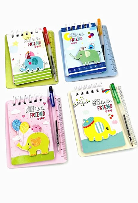 Pack Of 8 Elephant Diaries With Ruler And Pen
