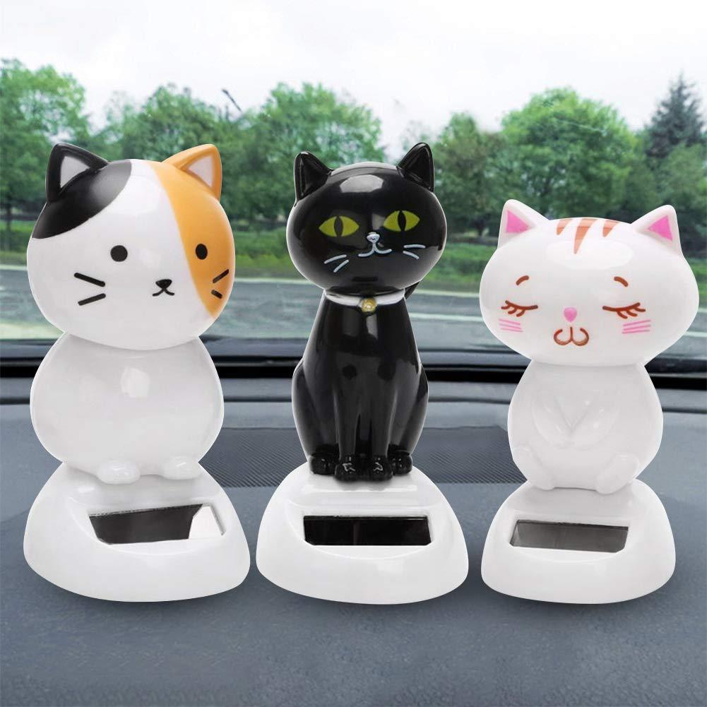 1# WFZ17 Solar Powered Shaking Cat Kitten Doll Toy Car Ornament Decoration Handicraft Interior Accessories