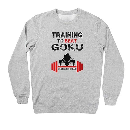 Training to Beat Goku Bodybuilding Banksy Logo Grey Unisex Sweater 3X Large