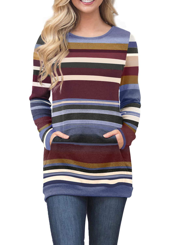 2a2e74bb2 AlvaQ Womens Juniors Winter Colorblock Striped Casual Pullover Thin Loose  Long Sleeve Shirt Crewneck Tunic Sweatshirts Tops with Pockets Blue Fashion  2018