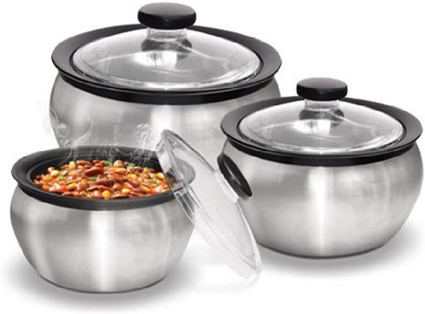 Milton 600/1500/2000ml 3-Piece Thermo Hot-Pot Insulated Casserole Gift Set, Medium, Steel