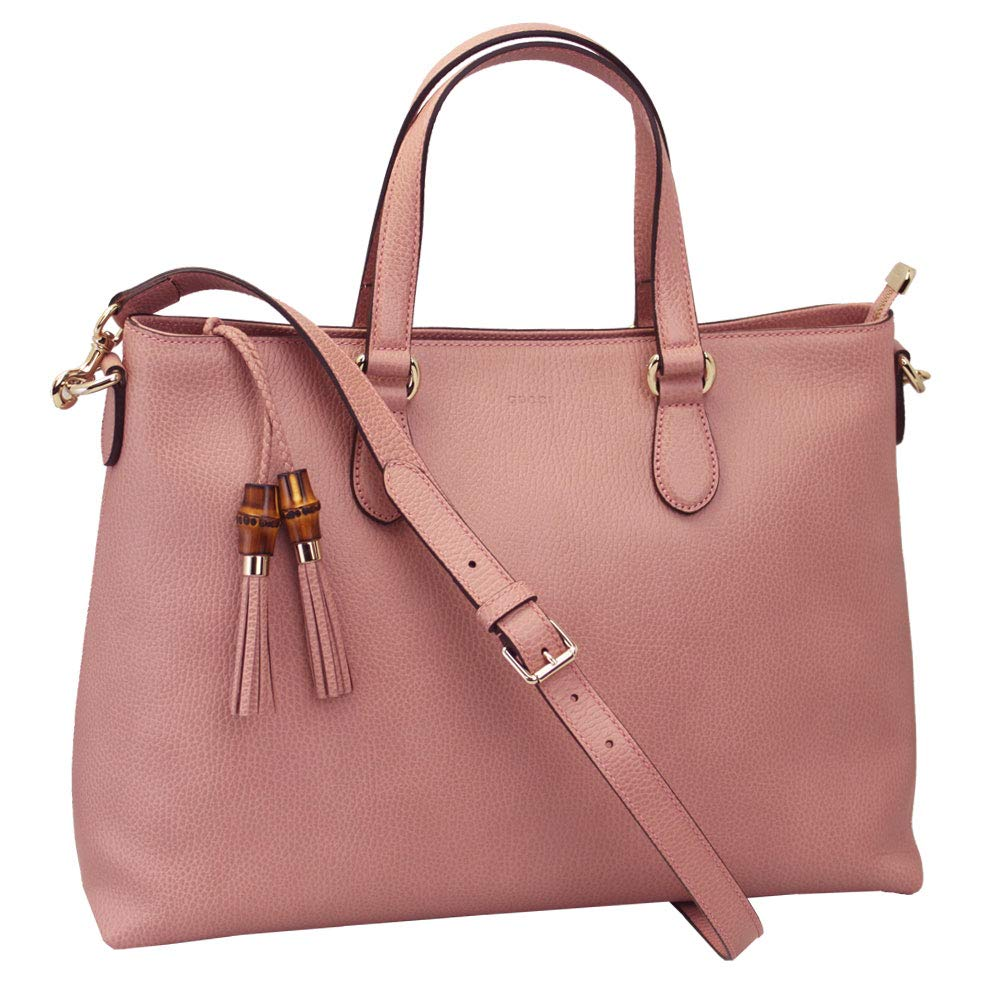 buy online f768e 8d75d Amazon.com: Outlet Gucci Pink Leather Bamboo Tassel Shoulder ...