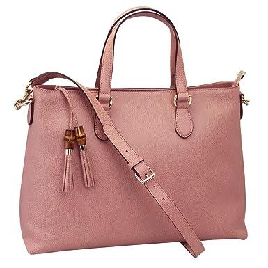 af80a37cfe1 Amazon.com  Outlet Gucci Pink Leather Bamboo Tassel Shoulder Bag ...