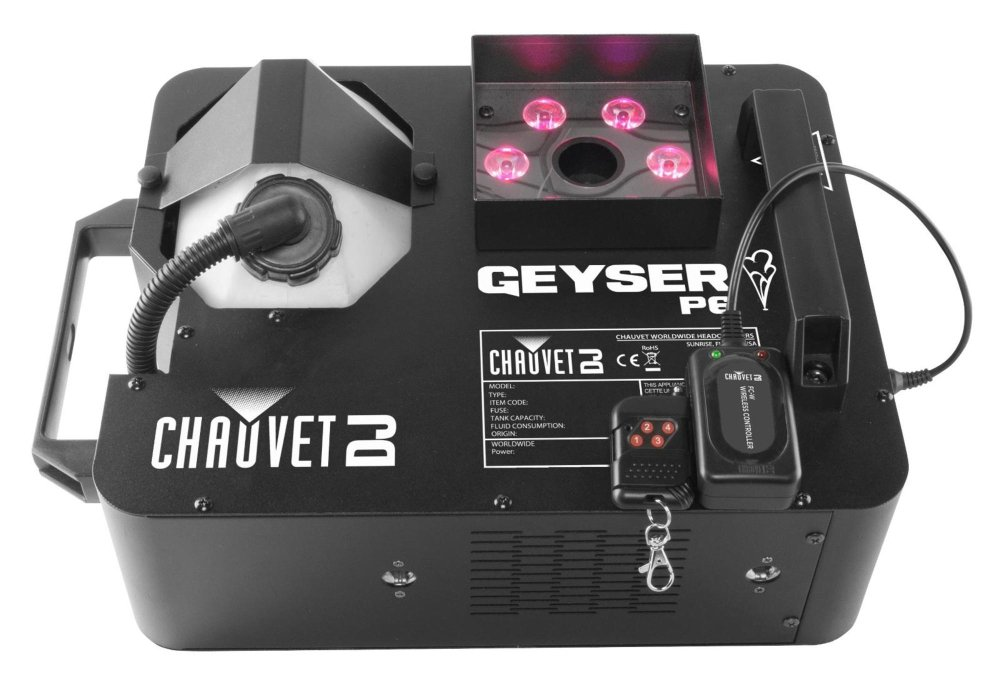 CHAUVET DJ Geyser P6 Vertical Fog Machine w/LED Light Effects/Wireless Remote & Built-in DMX | Fog Machines