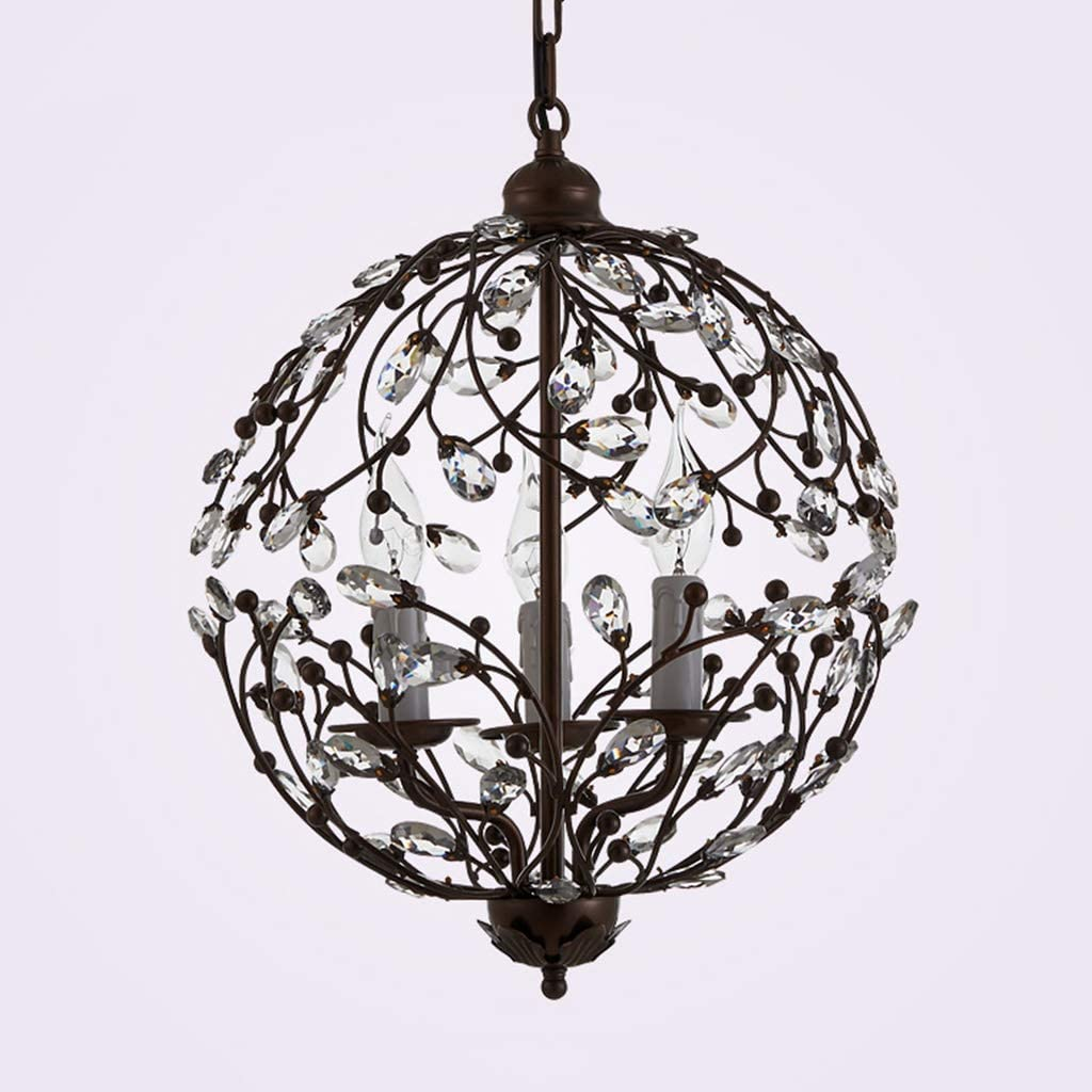C-J-Xin Inicio Dormitorio de la lámpara, lámpara Colgante Vela luz Suave luz Pendiente Rama de la Flor Cristal esférico 3 Jefes Botón Techo de la lámpara Lámparas de araña (Size : 45 * 45CM)