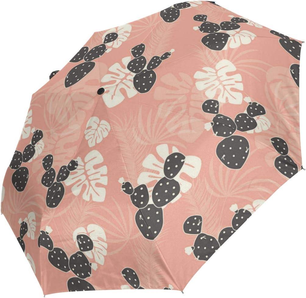 Pattern Moon Boat Tropical Leaves fashion print cute Windproof automatic tri-fold umbrella sun UV protection Sun umbrella