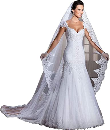 Comb New White//Ivory Cathedral Length Lace Edge Bride Wedding Bridal Long Veil