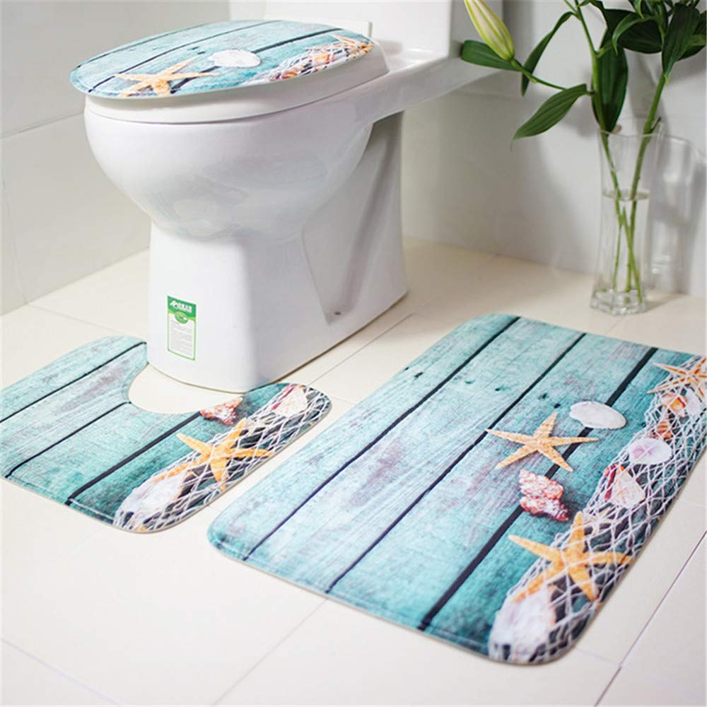 3Pcs/Set Creative Toilet Set Non-slip Rug Mat Set Toilet Lid Cover Home Bathroom Bath Accessories