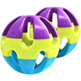 Sanwooden Funny Pet Bell Ball Chase Game Colorful Pet Toy Ball with Bell for Hamster Cat Parrot Dog Rabbit Pet Supplies
