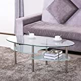 Yaheetech 3 Tier Modern Living Room Oval Glass Coffee Table Round Glass Side Table End Tables All Clear with Chrome Finish Legs Cocktail Table
