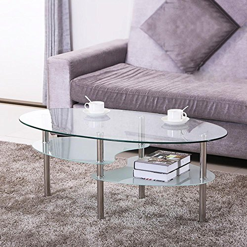 Yaheetech 3 Tier Modern Living Room Oval Glass Coffee Table Round Glass Side Table End Tables All Clear with Chrome Finish Legs Cocktail Table -