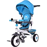 Costzon 4-in-1 Kids Tricycle Steer Stroller Toy Bike w/ Canopy Basket