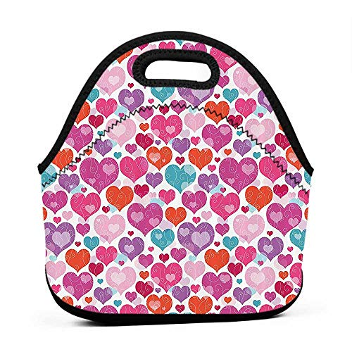 Large Size Reusable Lunch Handbag Valentines Day Love,Decorative Colorful Hearts and Curls Pattern Vibrant Colors Romance Art Print,Fabric,Purple Magenta,cool lunch bag for kids
