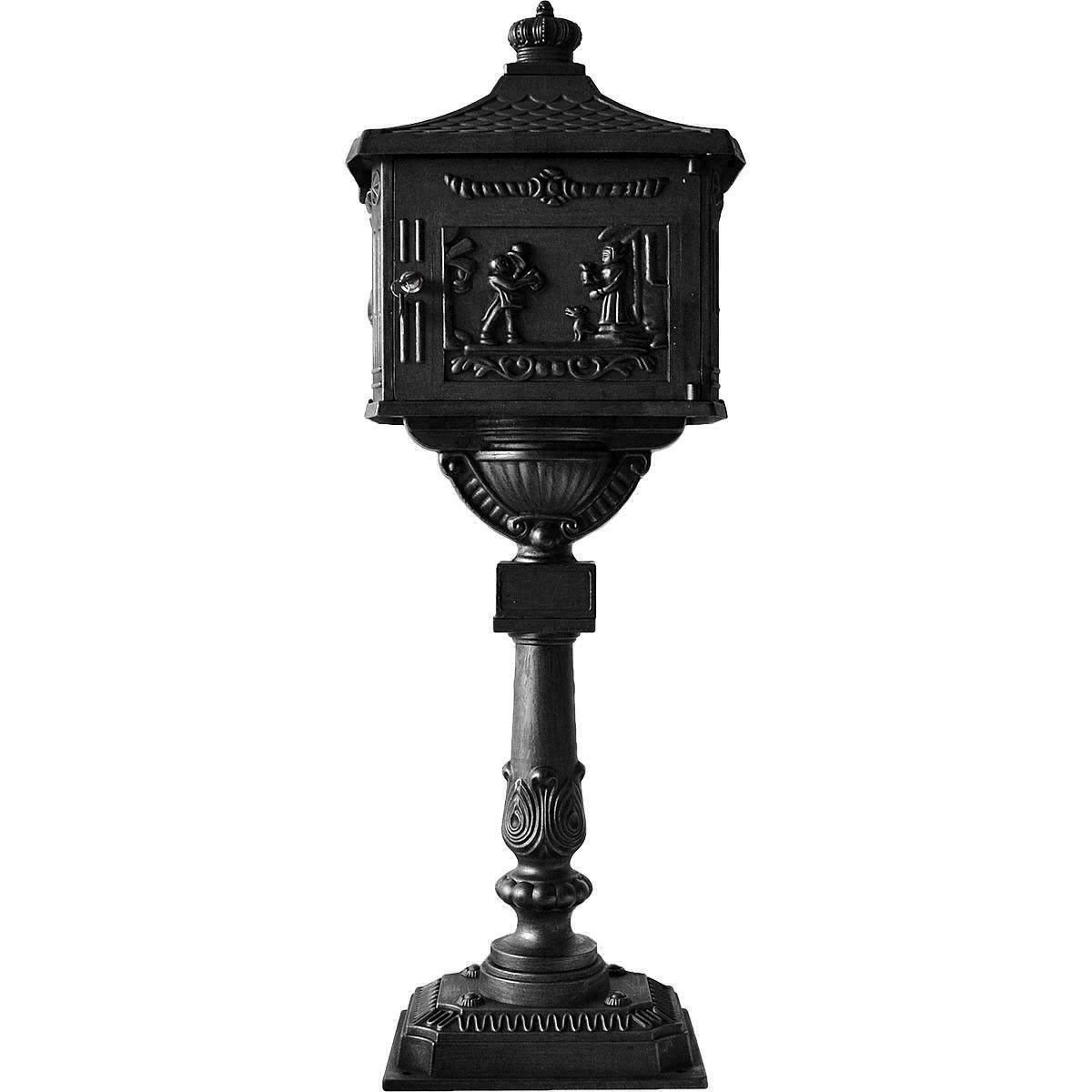 Wakrays Mail Box Heavy Duty Mailbox Postal Box Security Cast Aluminum Vertical Pedestal (Black)