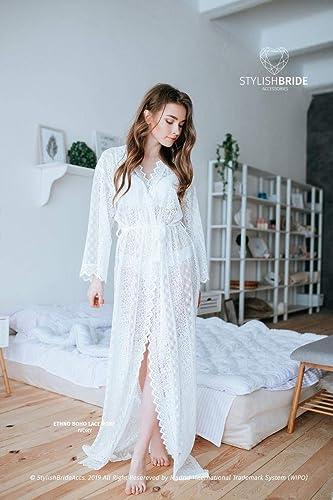 Amazon Com Handmade Ethno Boho Floor Length Robe Bohemian Luxury Lace Robe Floor Length Pre Wedding Robe Maxi Robe Long Lace Robe Maternity Robe Handmade