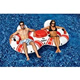 Solstice SuperChill Inflatable 2-in-1 Tube Duo Water/Pool Float for Swimming Pools and River Rafting with Electric Pump