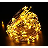 Tanbaby LED 33FT Copper Wire LED Starry Lights 100LED String Lights with Power Adapter (Warm White)