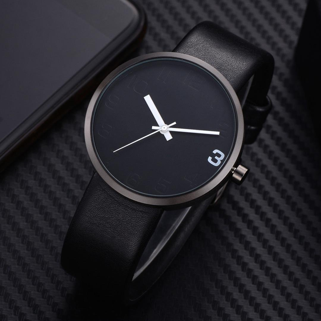 Amazon.com: TOMI ,T021 Mens Watch(1 x Watch + 1 x Box) Ikevan Simple Style Casual Men s Rounded Bussines Retro Design Leather Band Watch (Color E): PU ...