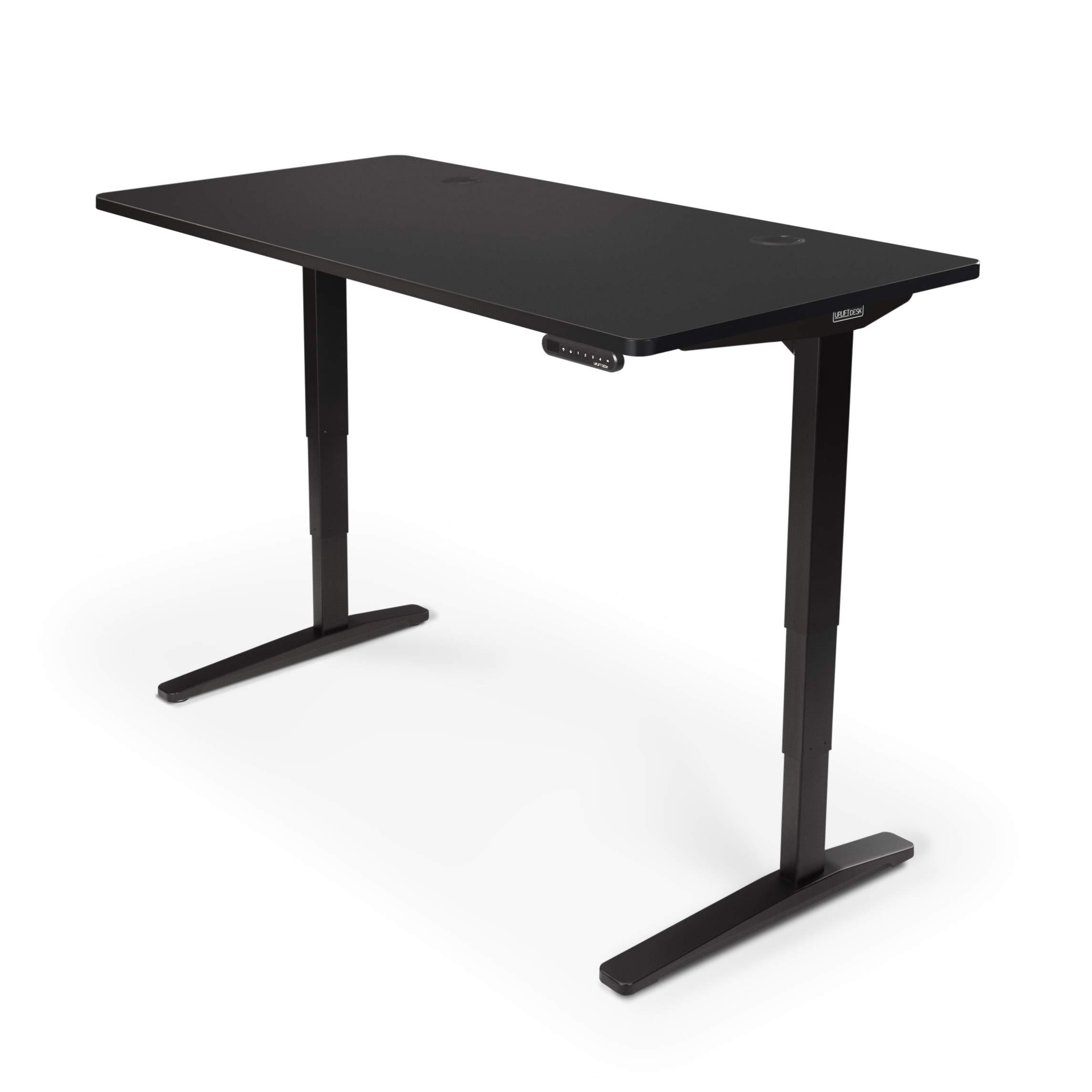 UPLIFT Desk - V2 Standing Desk with Black GREENGUARD Laminate Desktop, Height Adjustable Frame (Black), Advanced Memory Keypad & Wire Grommets (Black), Bamboo Motion-X Board (60'' x 30'') by UPLIFT Desk