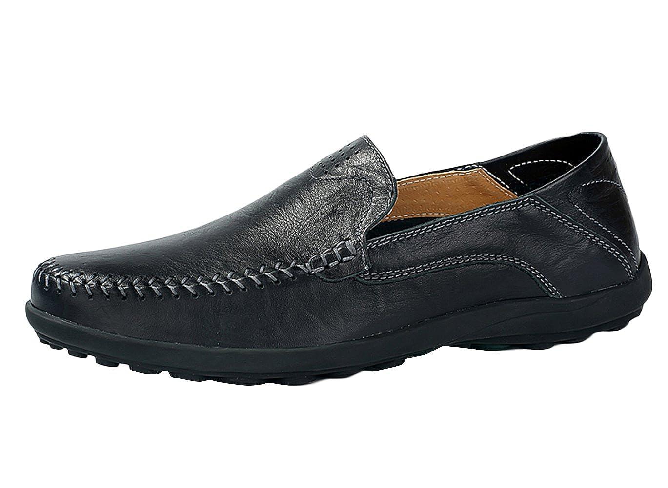 more photos 8e114 df3e7 SK Studio Hombre Hombre Hombre Mocasines de Cuero Color S oacute lido  Calzado Suave Zapatos de Conducci oacute n Mocasine con Slip on c5b15a