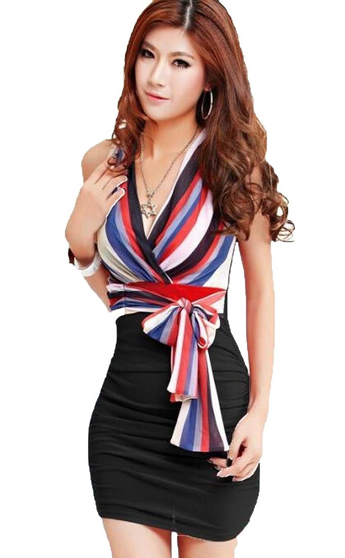 Abetteric Women's Causal Classic Sleeveless V-neck Clubwear Dress
