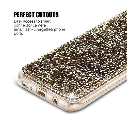 Funda para Samsung S8 Carcasa Galaxy S8 Silicona Anfire Suave Transparente Gel 3D Brillante Diamante Diseño Funda Cubierta para galaxy S8 (5.8 Pulgadas) Bling Glitter Cristal Protección Bumper Tapa Or Oro
