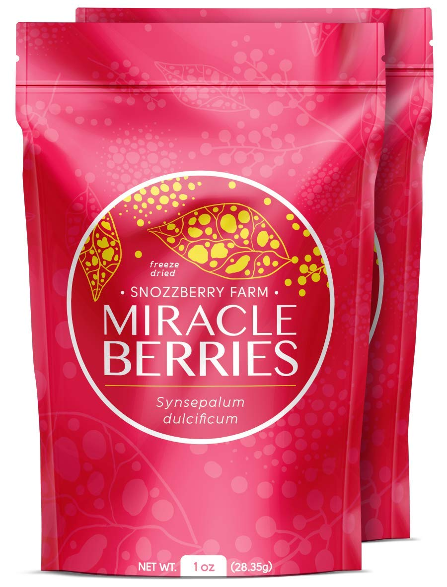 2oz Package Miracle Berries by the Snozzberry Farm, Contains 350 berry halves, freeze dried 100% Miracle fruit, Non-GMO, Grown in the USA, Makes sour sweet