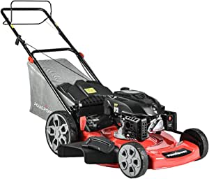 PowerSmart Lawn Mower, 22-inch & 200CC, Gas Powered Self-propelled Lawn Mower with 4-Stroke Engine, 3-in-1 Gas Mower in Color Red/Black, 5 Adjustable Heights (1.21''-3.52''), PSM2322SR